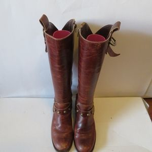 MATISSE BROWN LEATHER BUCKLE DESIGN RIDING BOOTS 7